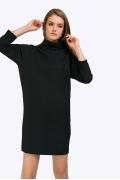 Чёрное платье с широким воротом-стойкой Emka PL812/almaza