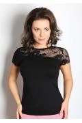 Чёрная кружевная блузка TopDesign A7 035