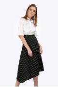 Черная юбка-миди А-силуэта в белую полоску Emka S816/trifekto
