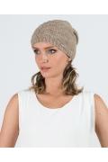 Тёмно-бежевая женская шапка Kamea Violeta