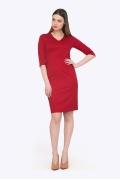 Красное платье с V-образным вырезом Emka PL758/aglaya