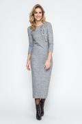 Длинное трикотажное платье серого цвета Enny 240082