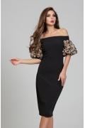 Чёрное платье с открытыми плечами Donna Saggia DSP-307-57t