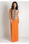 Костюм длинная оранжевая юбка и блузка TopDesign A6 145
