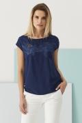 Тёмно-синяя блузка с коротким рукавом Sunwear Q02-2-30