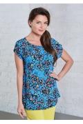 Женская летняя блузка синего цвета с цветами TopDesign A8 059