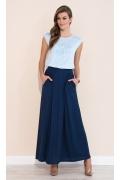 Голубая летняя блузка из трикотажа Zaps Fabia