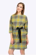 Современное платье в стильную яркую клетку Emka PL750/gum