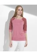 Розовая блузка с кружевными рукавами Sunwear I59-4-48