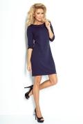 Тёмно-синее платье из толстого материала Numoco 107-2