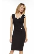 Чёрное коктейльное платье из трикотажа Enny 230035