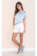 Голубая трикотажная блузка на лето Zaps Gina