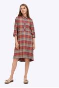 Платье-рубашка в клетку Emka PL858/camelia