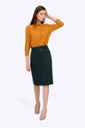 Тёмно-зелёная прямая юбка-миди Emka S369/safari