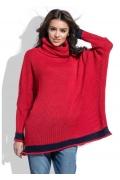 Красный свободный свитер oversize Fobya F469