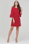 Малиновое платье с воланами на рукавах Donna Saggia DSP-289-13