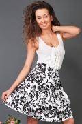 Чёрно-белая юбка из хлопка | 1121210