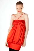 Красное атласное платье Golub | П107-849