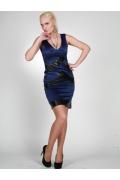Короткое синее платье с кожаными вставками | 0227