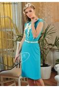 Голубое платье с белым декором | 1332.2