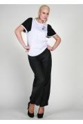 Белая блузка с черными рукавами | 0435
