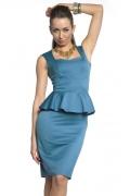 Платье с баской лазурного цвета | DSP-84-37