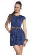 Синее короткое платье в белый горошек | DSP-57-41t