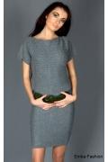 Короткое трикотажное платье темно-серого цвета | 8019