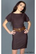 Стильное коричневое платье | 8019