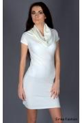 Белое трикотажное платье Yiky Fashion | 8001