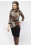 Леопардовое платье с баской Enny 16007