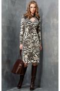 Леопардовое платье из трикотажа TopDesign B3 068