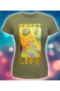 Женская футболка Sweet Life (спецэффект Блестки)