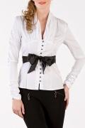 Белая блузка с черным поясом | Б690-724-300