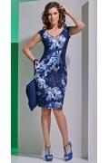 Синее платье с коротким рукавом TopDesign A4 098