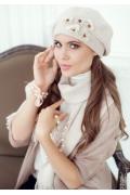 Бежевый комплект (берет и шарф) Landre Николь