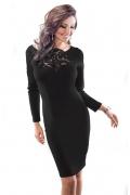 Чёрное платье с кружевом Enny 18031