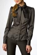Чёрная атласная блузка Golub | Б681-944