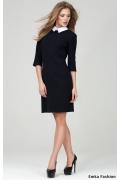 Тёмно-синее платье с белым воротничком Emka Fashion PL-409/olesya