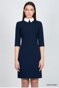 Тёмно-синее платье с воротником Emka Fashion PL-409/serafima