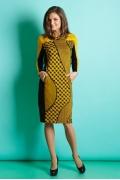 Горчичное платье TopDesign B5 022