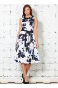 Белое платье с синими цветами | 1608