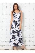Длинное белое платье с синими цветами | 1607