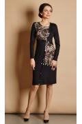 Чёрное платье с леопардовыми вставками TopDesign B5 072