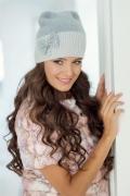 Светло-серая женская шапка Landre Дольче