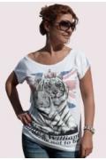 "Белая футболка-туника ""2 тигра британика"""