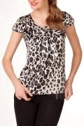 Атласная черно-белая блузка | Б753-993