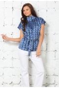 Сине-голубая атласная блузка | 4634