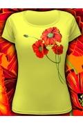 """Женская футболка светящаяся в темноте """"Маки"""""""
