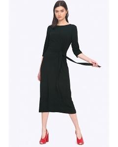 Чёрное платье с бантом на талии Emka PL753/hazel